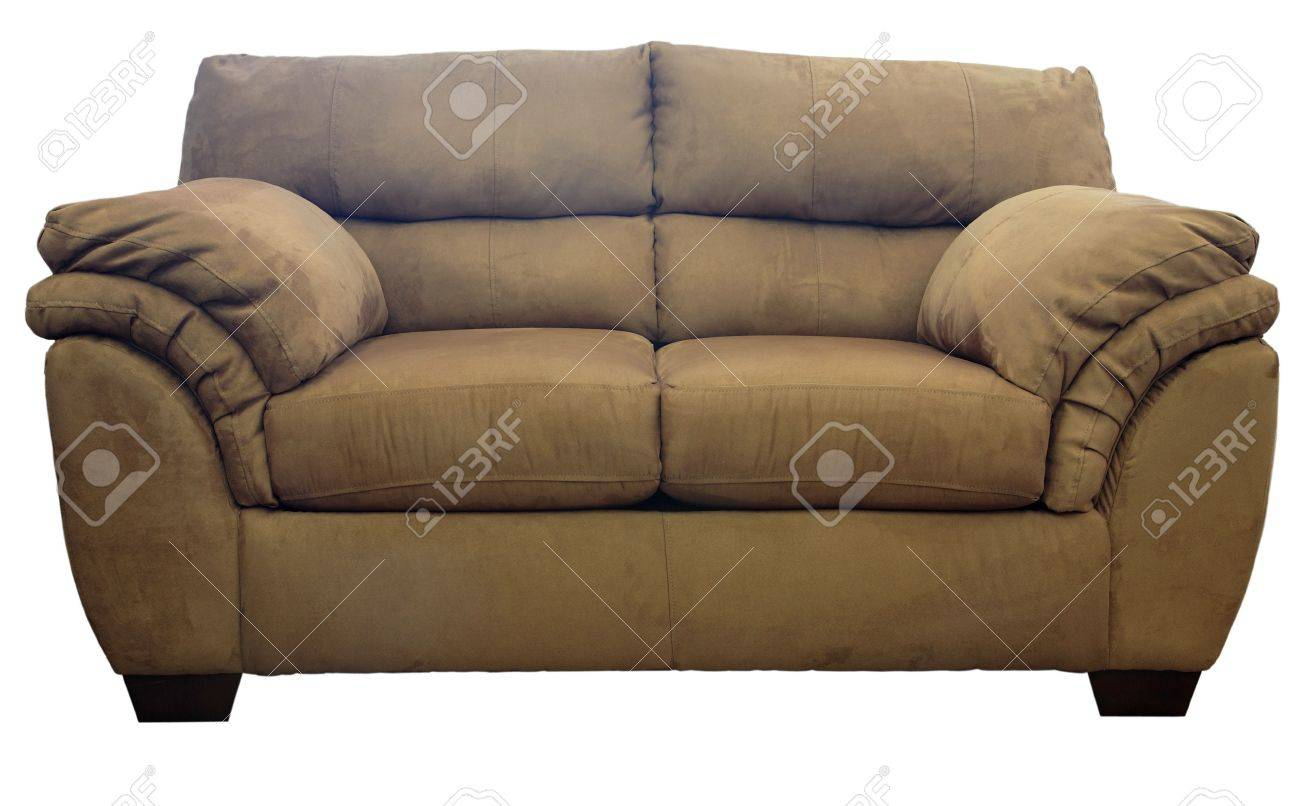 - Brown Micro Suede Plush Sofa Stock Photo, Picture And Royalty Free Image.  Image 2684353.