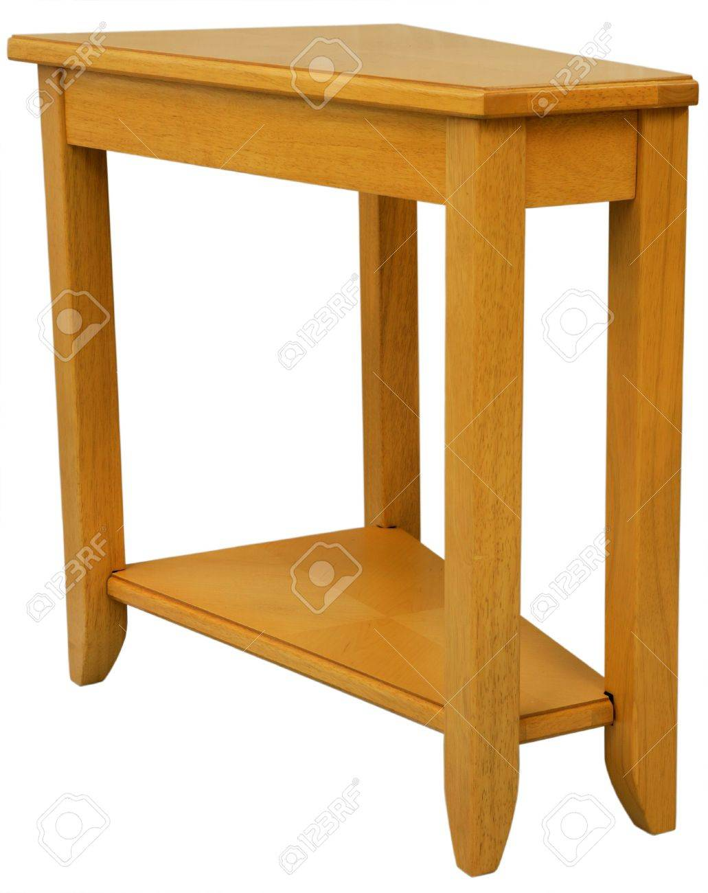 Maple Wood Wedge Shaped End Table In Natural Finish Stock Photo   2698913