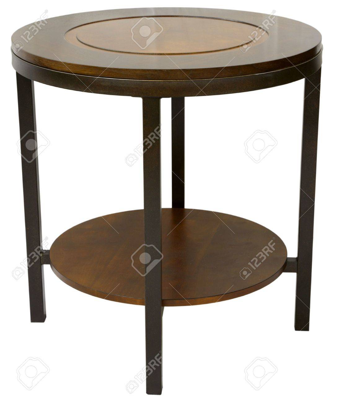 round wood and metal contemporary end table stock photo picture  - round wood and metal contemporary end table stock photo