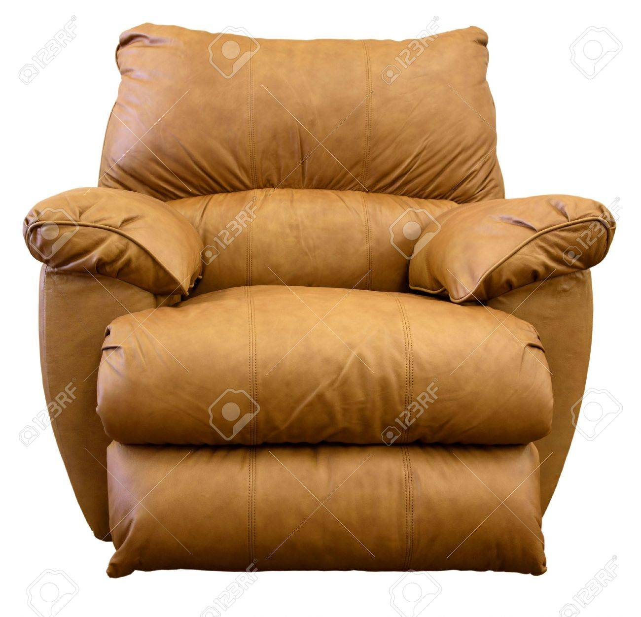 large comfortable overstuffed brown leather rocker recliner stock photo - Leather Rocker Recliner