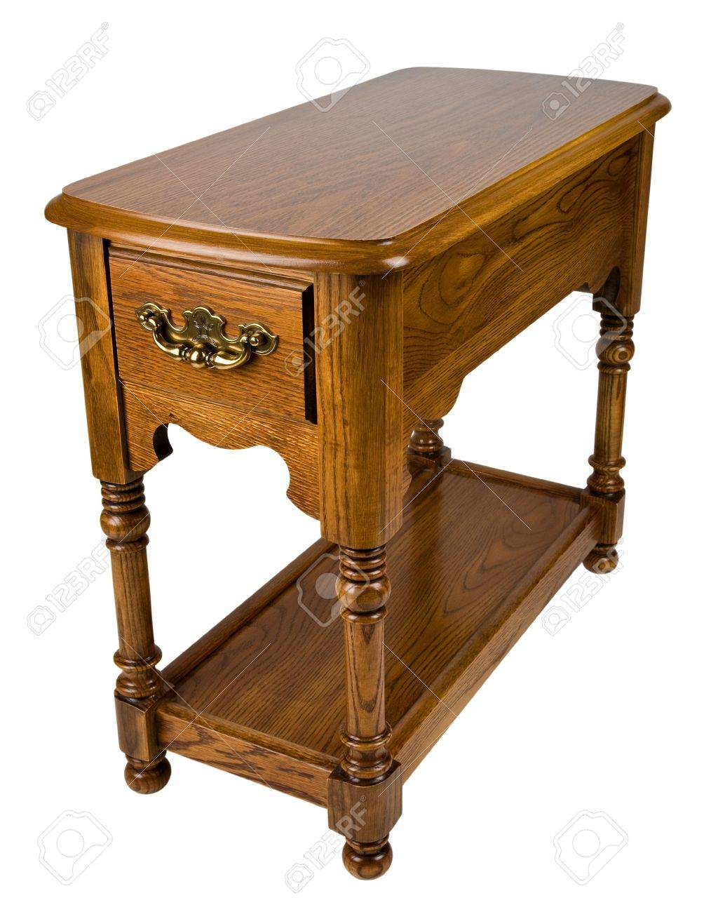 Oak Chair Side End Table With Formica Top Stock Picture And