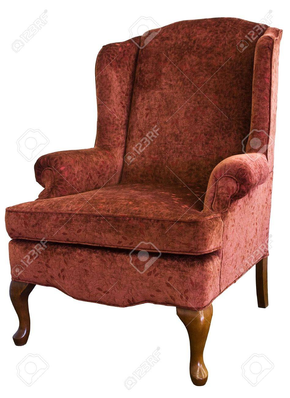 queen anne wing chair in velvet floral fabric stock photo