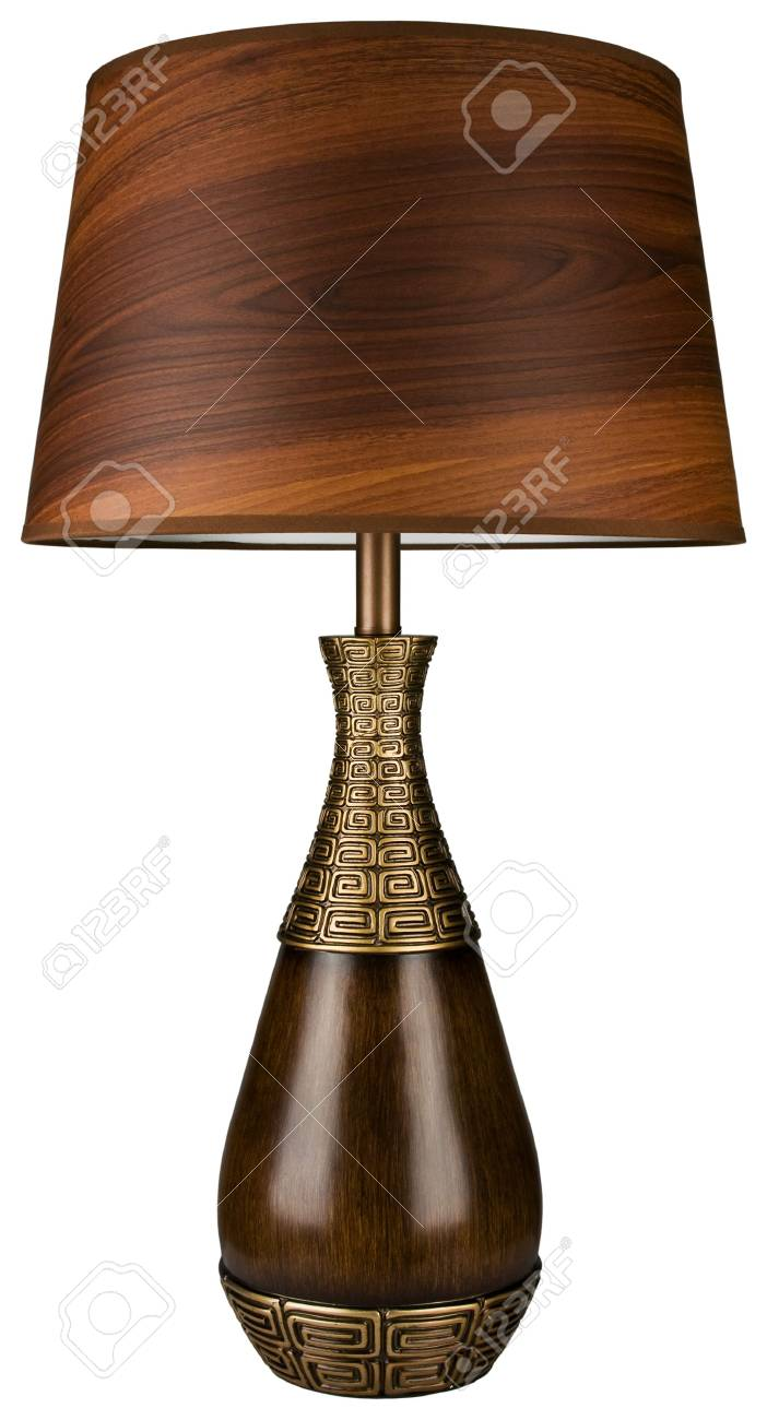 Contemporary Wood And Brass Table Lamp With Wood Grain Lamp Shade Stock Photo Picture And Royalty Free Image Image 5614163