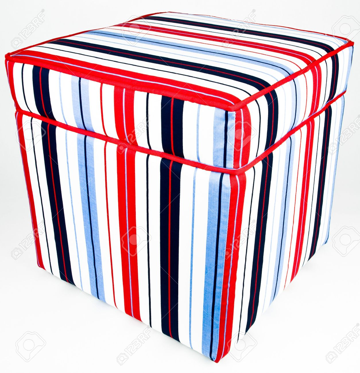 Colorful Cotton Striped Fabric Ottoman Storage Footrest Stock
