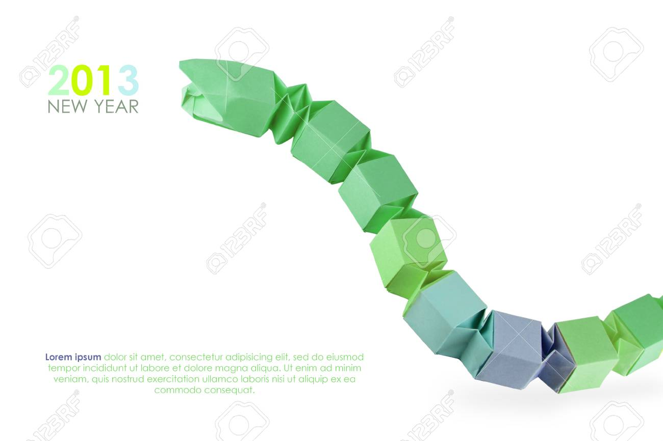 Origami green snake 2013 on a white background Stock Photo - 16853562
