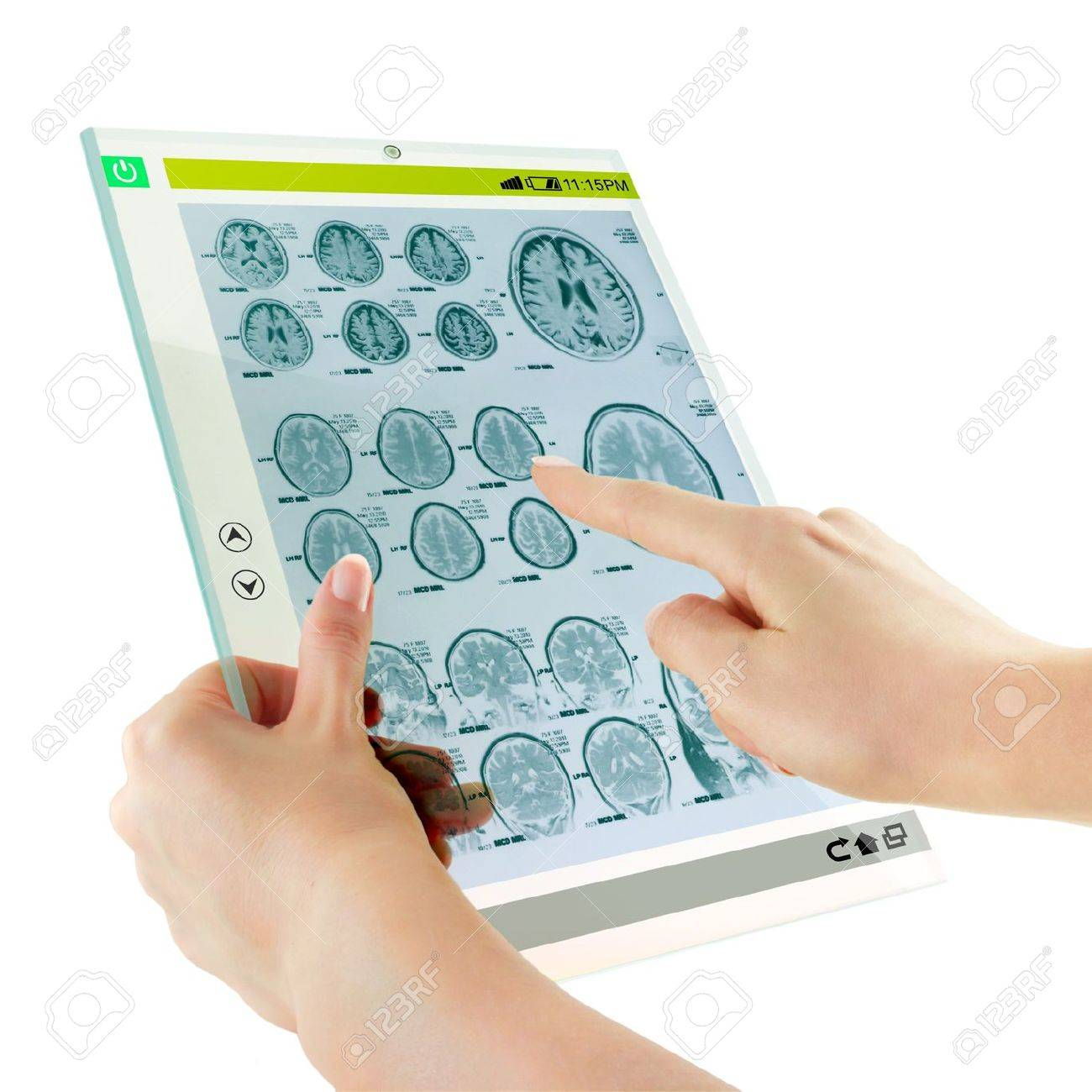 Futuristic glass digital tablet with brain medicine examination Stock Photo - 18152497