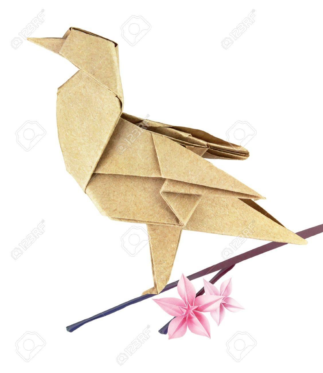 Brown spring origami bird on a sakura branch Stock Photo - 18152482