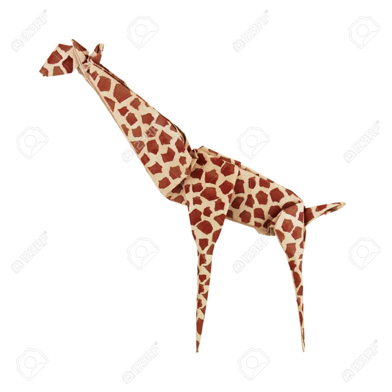 Origami Paper Giraffe On A White Background Stock Photo