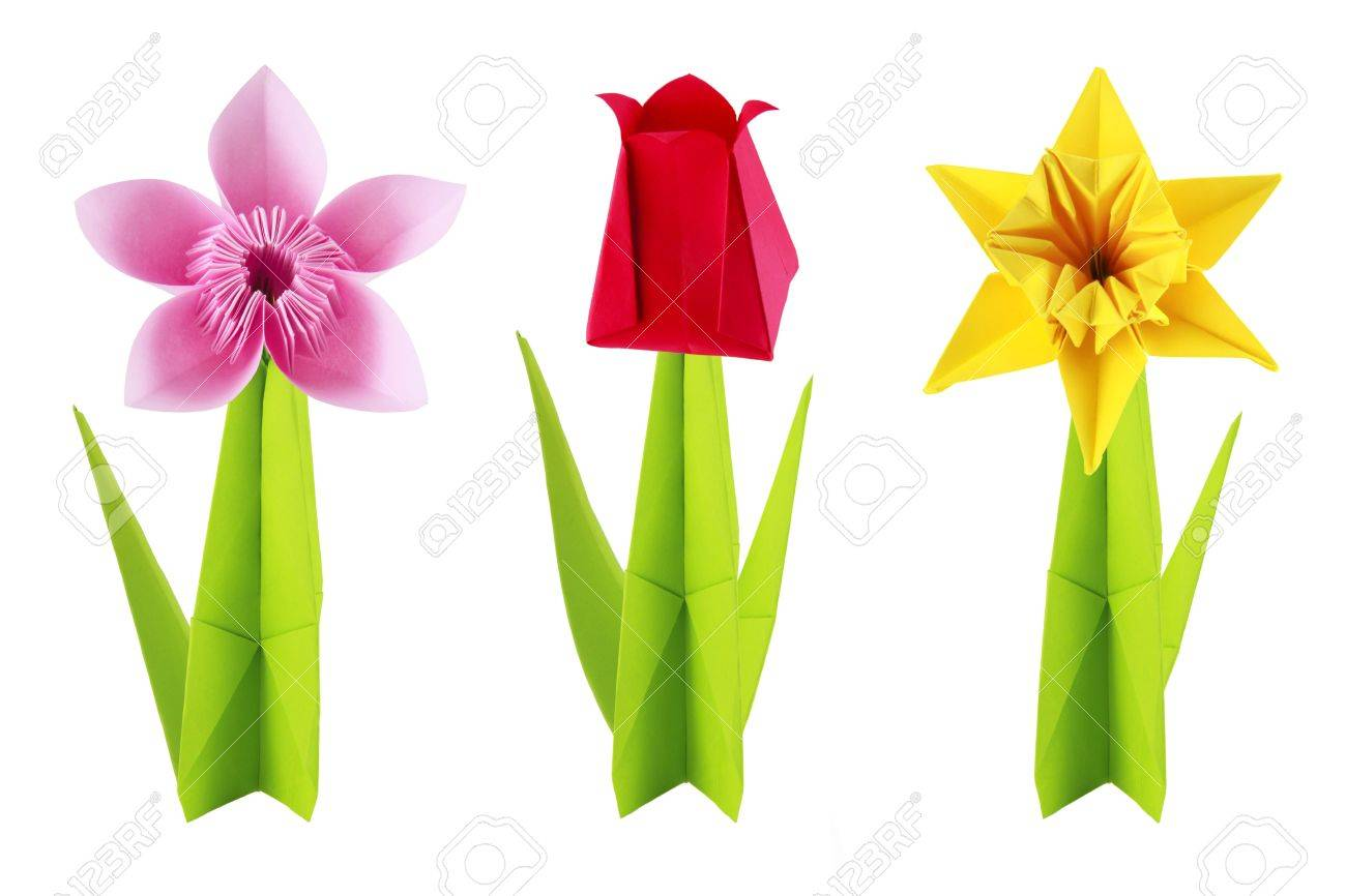 Origami Spring Flowers Set On A White Background Stock Photo