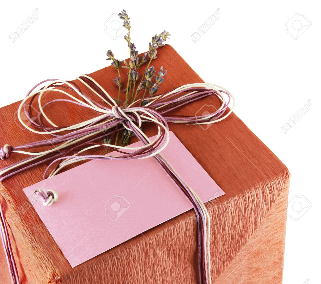 Present box whith lavander flower in vintage stile on a white background Stock Photo - 18776295