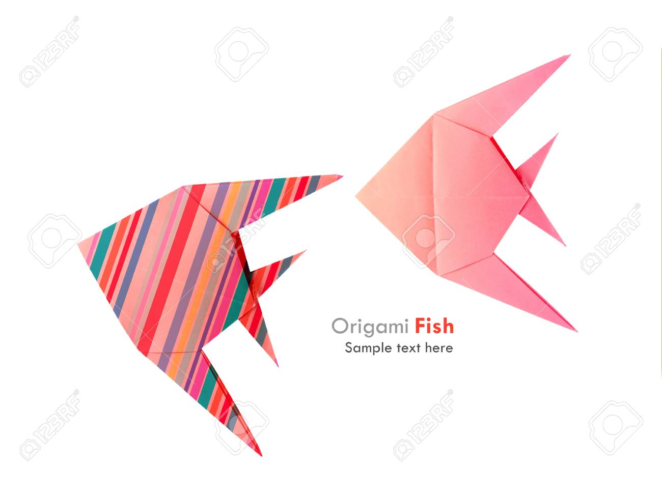 Rigami pink and striped tropical fish set on the white background rigami pink and striped tropical fish set on the white background stock photo 22012262 jeuxipadfo Images