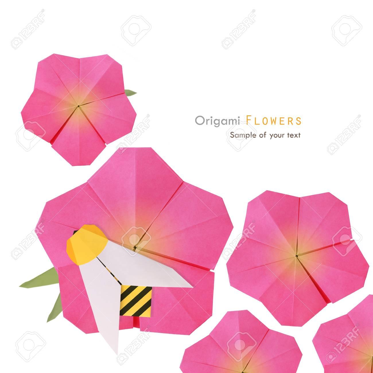 Origami Rosa Sommerblumen Mit Noney Biene Auf Einem Weißen