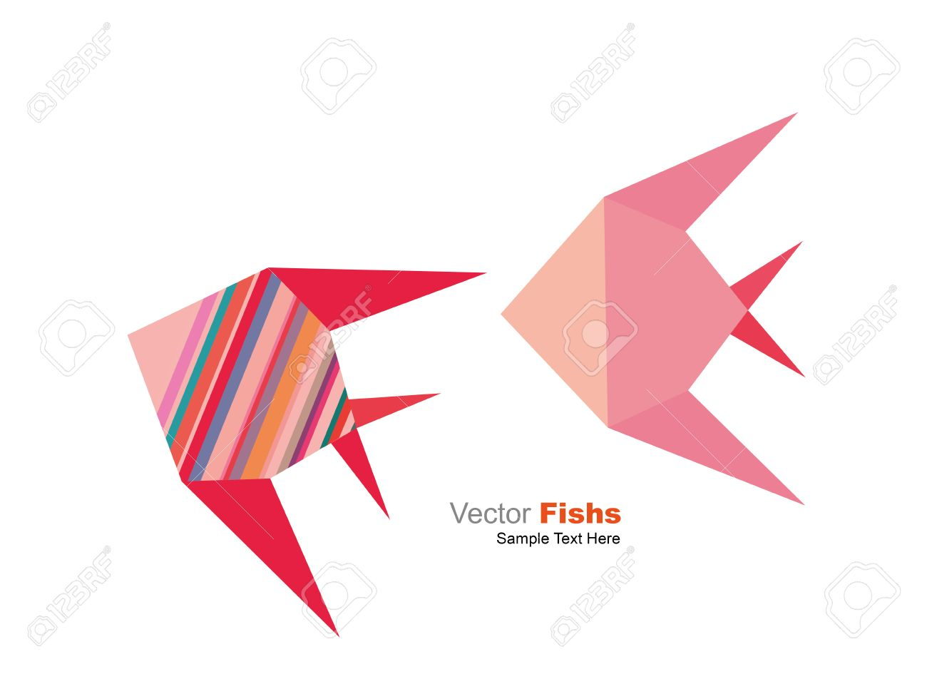 Vector geometric origami pink and striped tropical fish set on vector geometric origami pink and striped tropical fish set on the white background stock vector jeuxipadfo Images