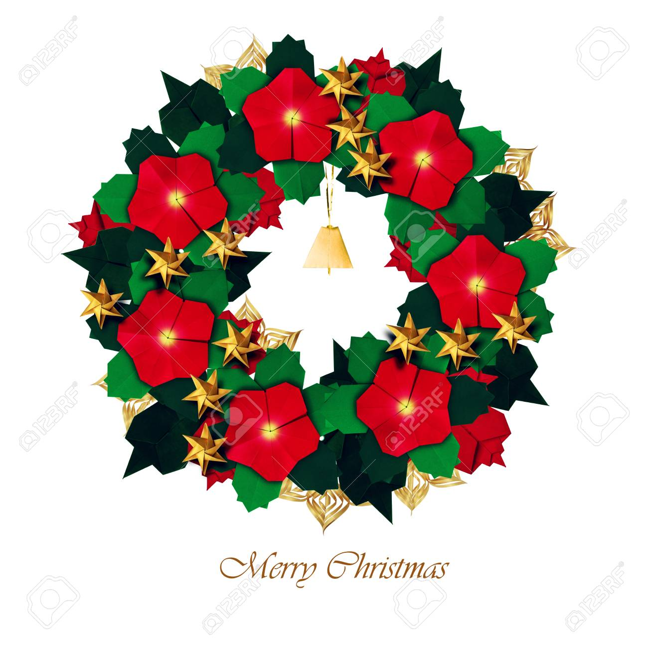 Red Golden And Green Isolated Christmas Red Poinsettia Flower
