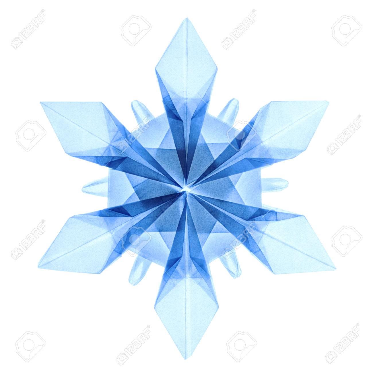 Favoloso Origami Fragilità Trasparente Blu Natale Freddi Fiocchi Di Neve  MA28