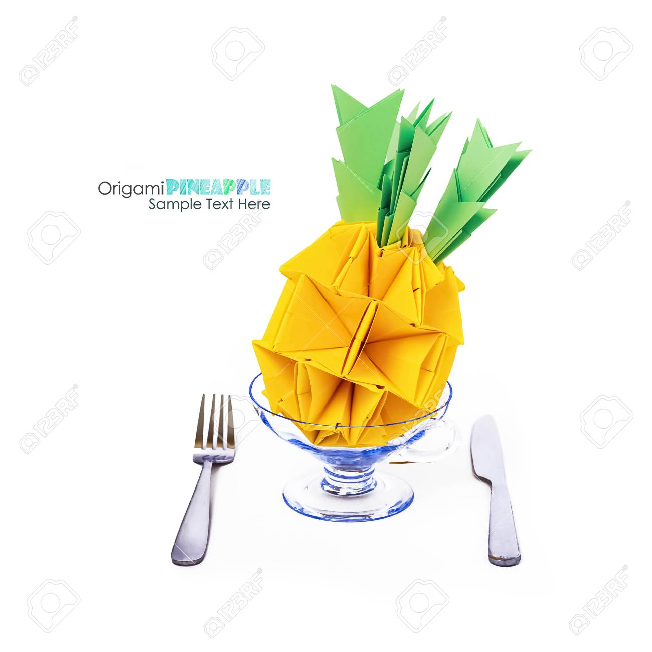 Origami Paper Pineapple Yellow Vitamin Diet Tropical Fruit On