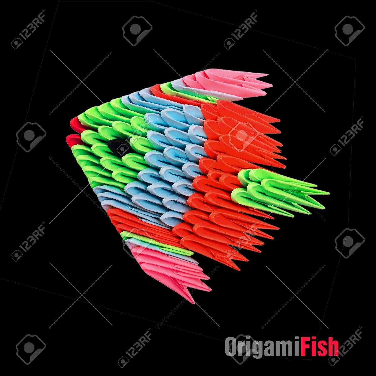 Origami tropical fish on the black background stock photo picture origami tropical fish on the black background stock photo 54169129 jeuxipadfo Images