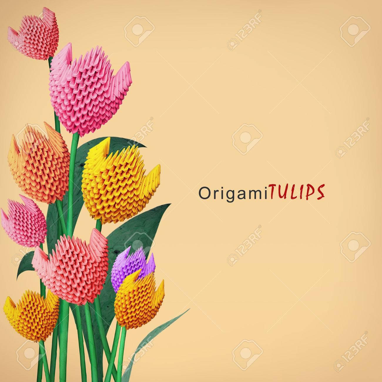 Bouquet De Fleurs Tulipe De Decoration De Papier Multicolore Origami