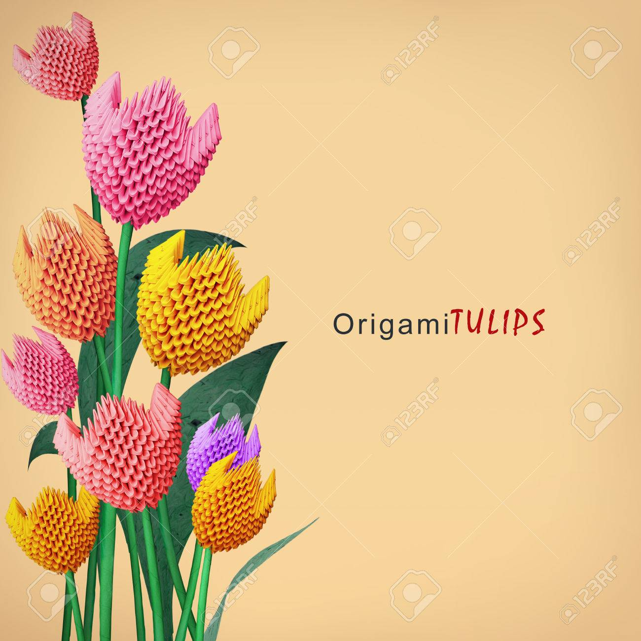 Origami 3d Multicolor Paper Decoration Tulip Flowers Bouquet Stock