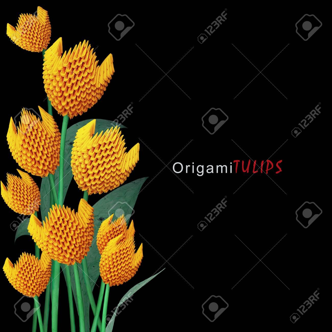 Origami 3d yellowr paper decoration tulip flowers bouquet on stock origami 3d yellowr paper decoration tulip flowers bouquet on a black background stock photo 54173579 mightylinksfo