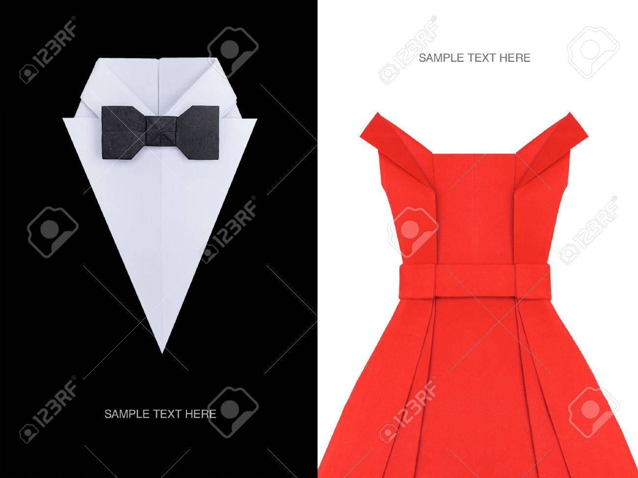 2bdc336857b3 Origami paper men's white shirt with red bow tie and red event evening  cocktail fashion dress