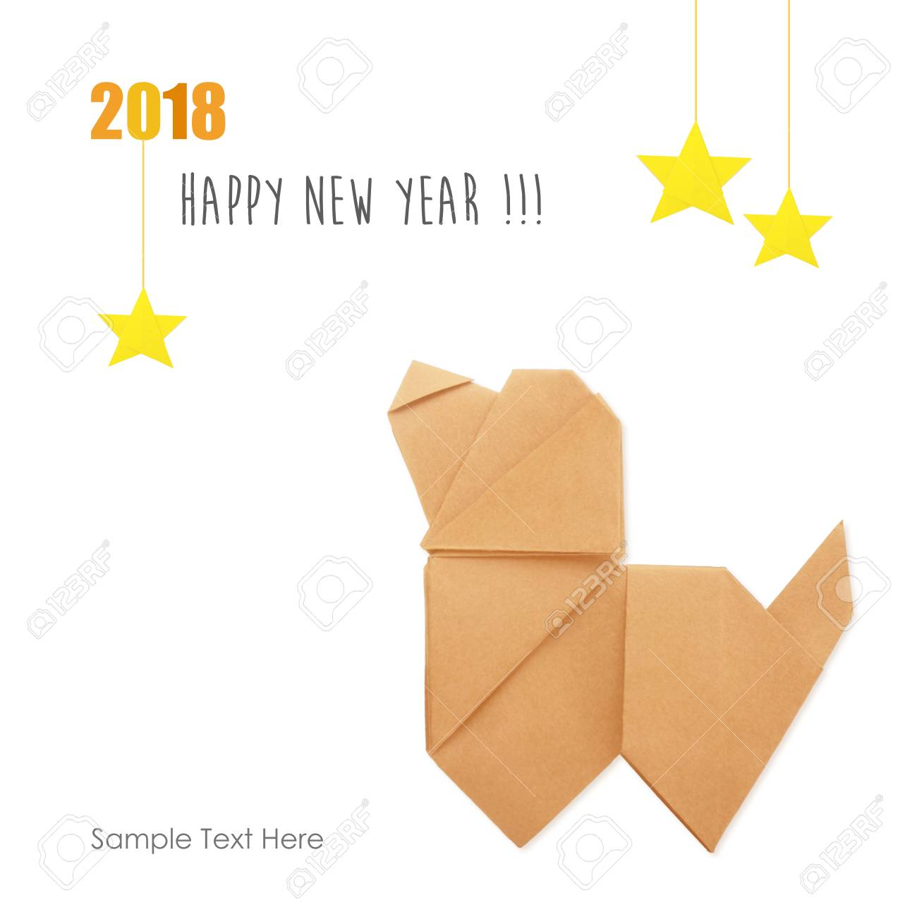 Origami Dog Simbol Of Chinese 2018 New Year And Stars On A White Background Stock Photo