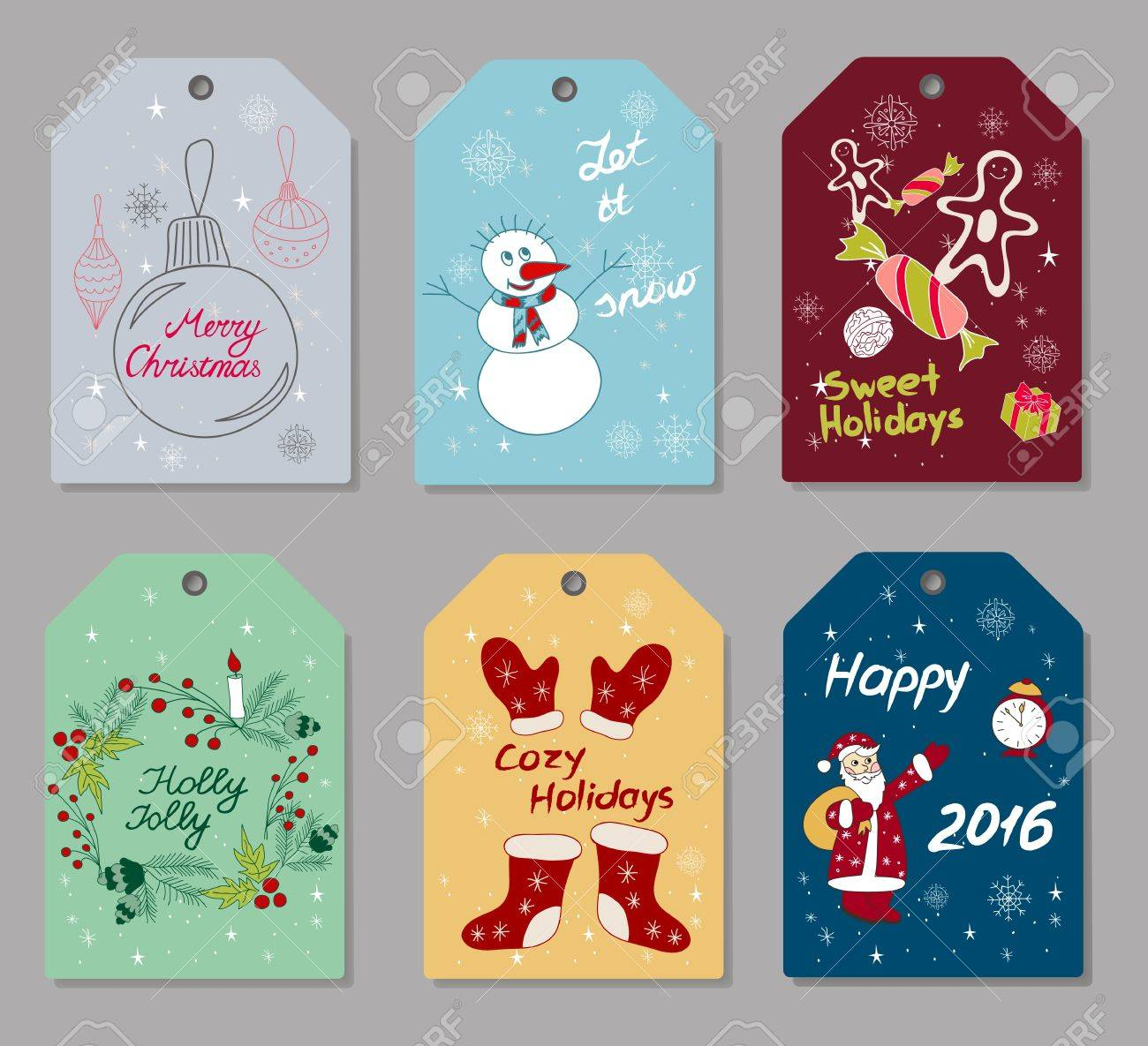 Set Of Hand Drawn Christmas And New Year Gift Tags, Small Greeting ...