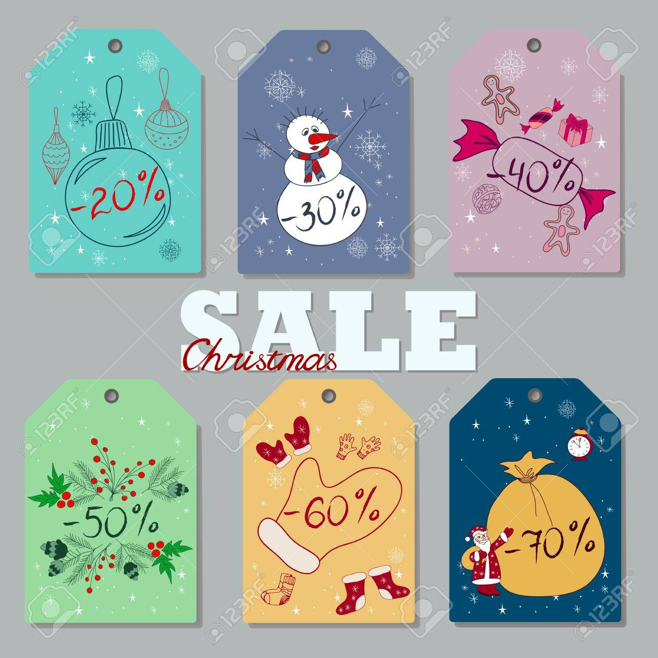 set of hand drawn christmas and new year discount tags price cards with holidays attributes - Discount Christmas Cards