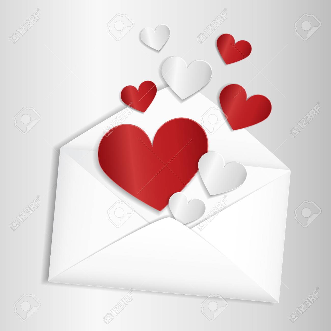 valentine card template opened envelope with cut paper hearts