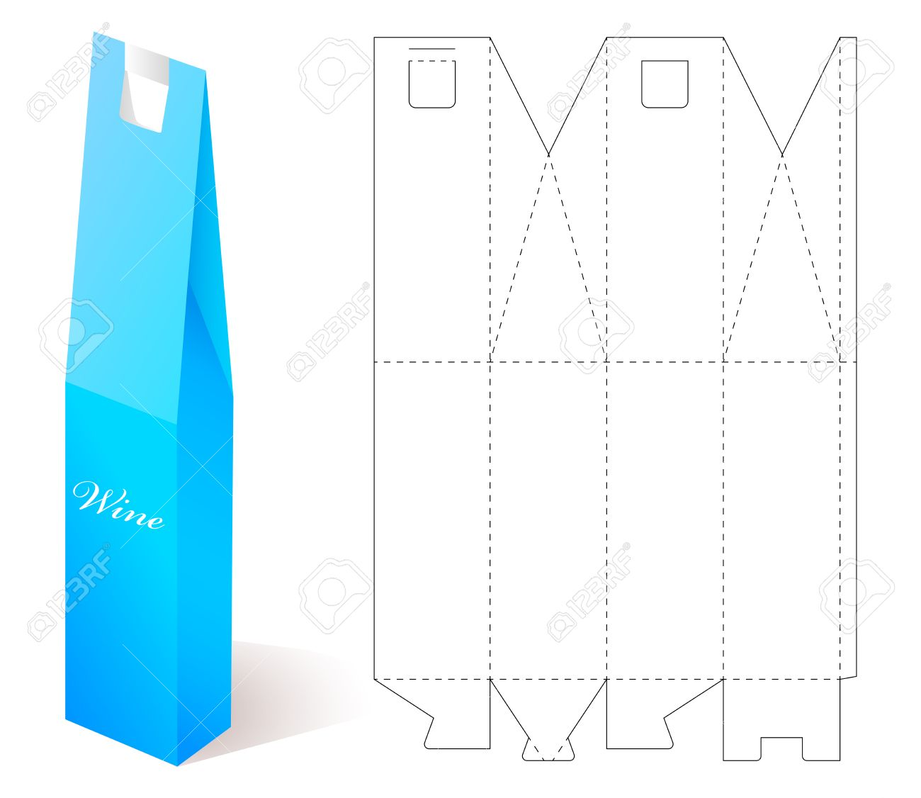 Wine paper box with blueprint template vector wine bottle box vector wine paper box with blueprint template vector wine bottle box illustration of gift craft box for designlding package vine bottle template malvernweather Choice Image