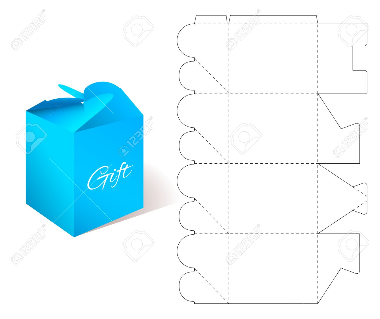Paper box gift paper box with blueprint template illustration gift paper box with blueprint template illustration of gift craft box for malvernweather Images