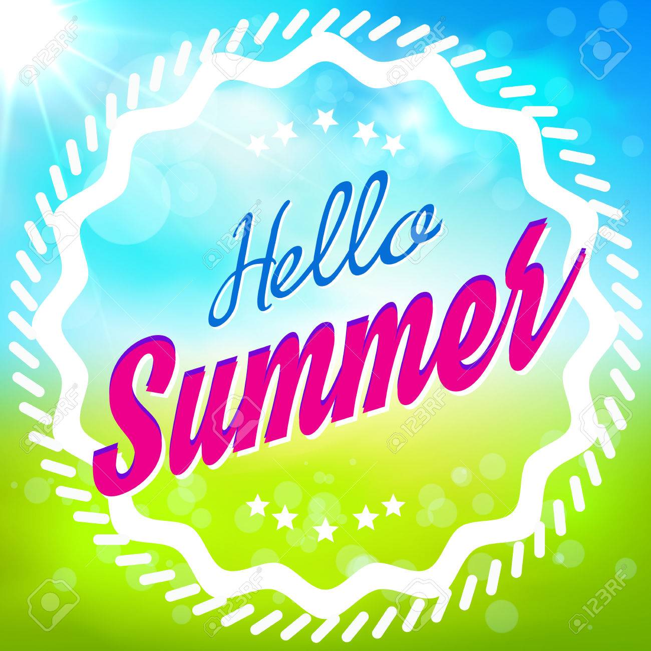 カードこんにちは夏夏のベクトル イラスト背景。夏の壁紙バナーに