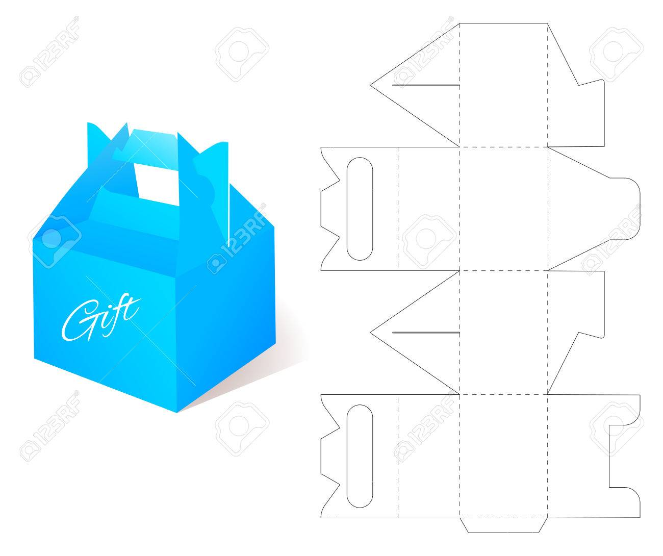 Box With Die Cut Template Packing For Gift Or Other Products Stock Vector