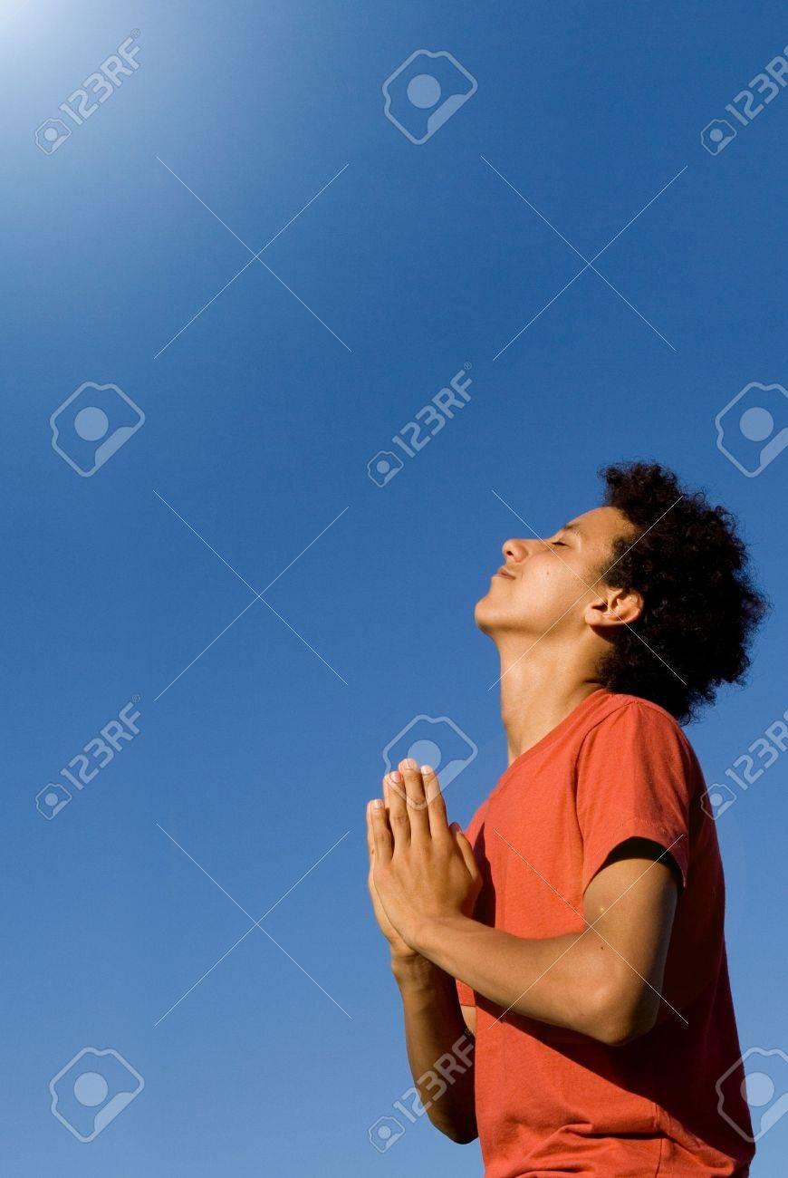 african american youth praying Stock Photo - 2634673