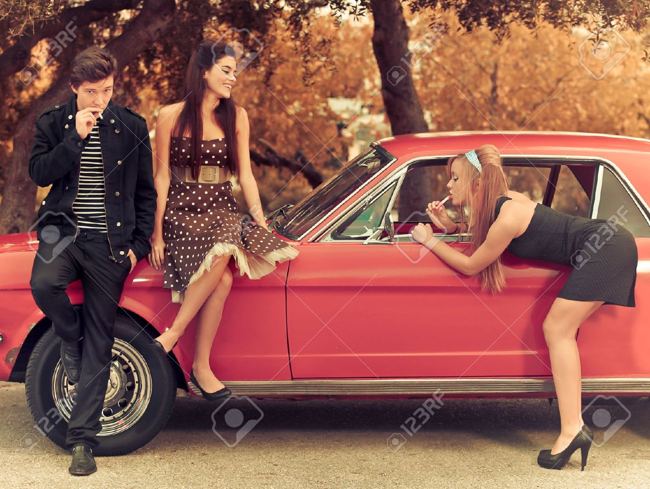 60s Or 50s Style Image Young People With Car Stock Photo, Picture ...