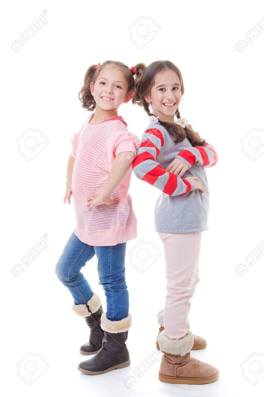 happy young girls or friends posing Stock Photo - 17850764