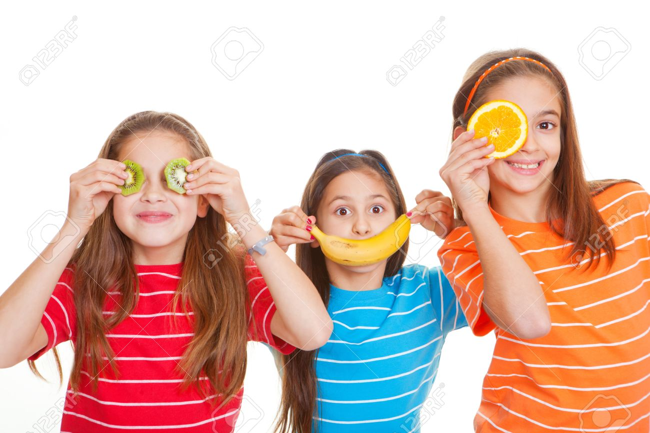 kids eating healthy fresh fruit diet concept Stock Photo - 17850770