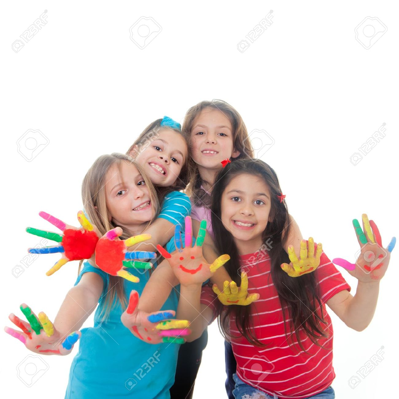 group of happy children having fun with paint stock photo picture