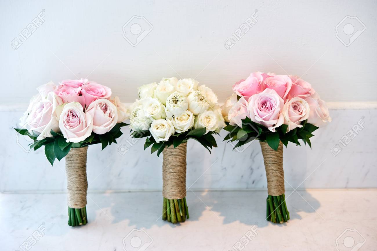Pink Roses And Cream Roses Wedding Bouquet Of The Bride And
