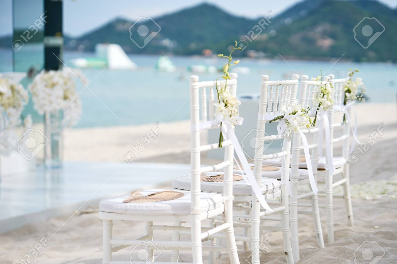 A Group Of White Chiavari Chairs On The Beach Wedding Preparation Stock Photo Picture And Royalty Free Image Image 96906880