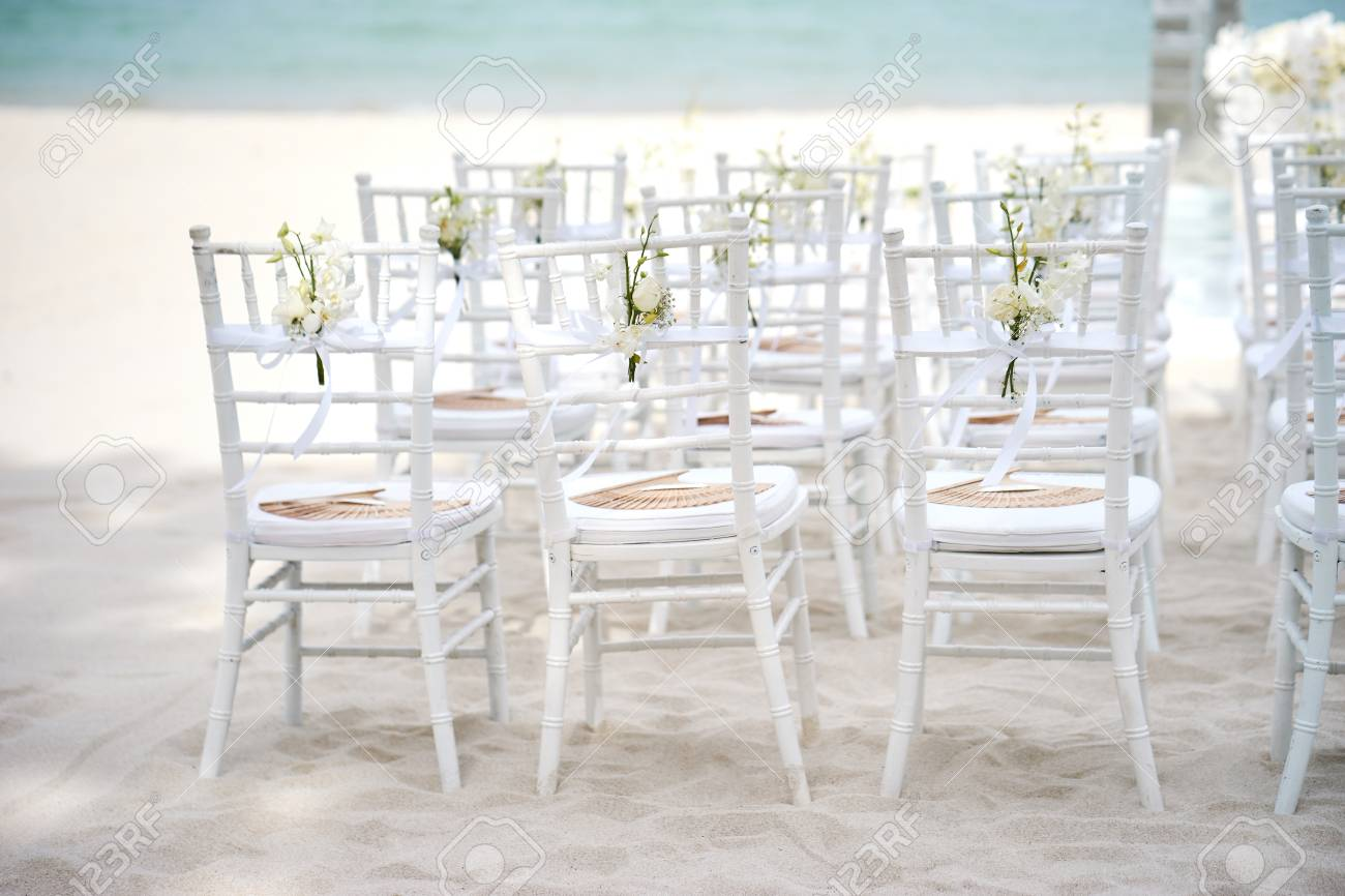 A Group Of White Chiavari Chairs On The Sand For Beach Wedding Stock Photo Picture And Royalty Free Image Image 96906883