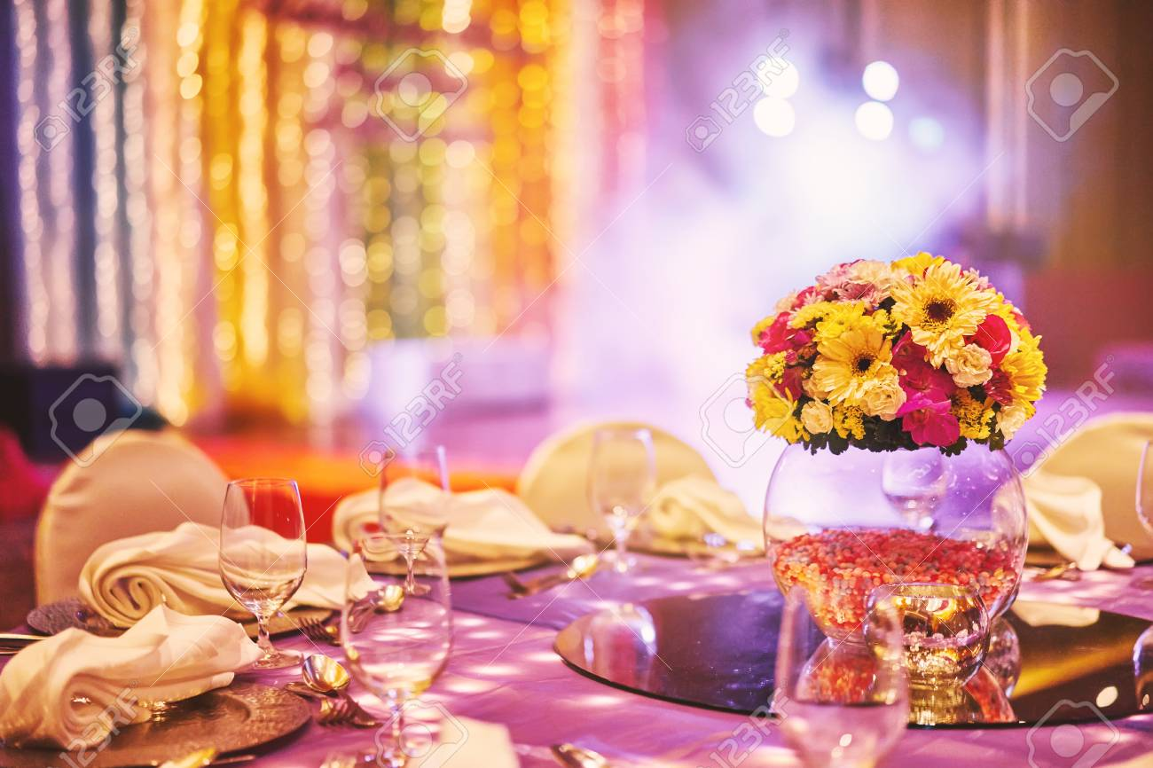 Wedding Reception Dinner Table With Flower Bouquet Decoration ...