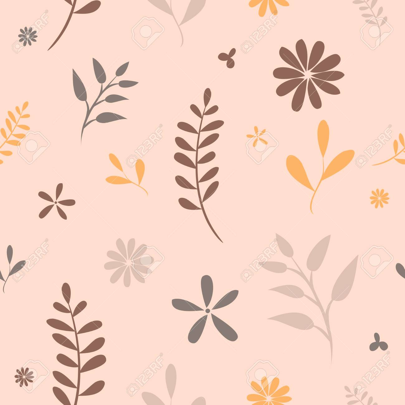 Flower Ornaments Autumn Leaves Hand Draw Seamless Pattern Retro ...