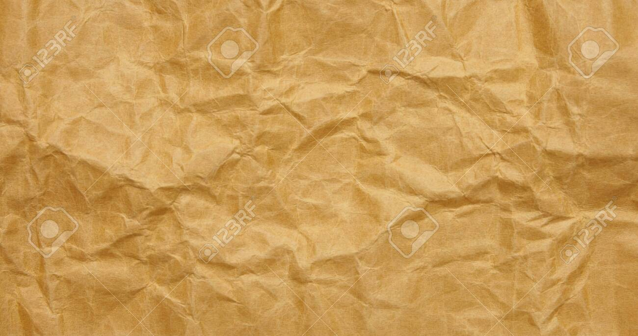Close Up Texture Of Brumpled Brown Paper Sheet For Background