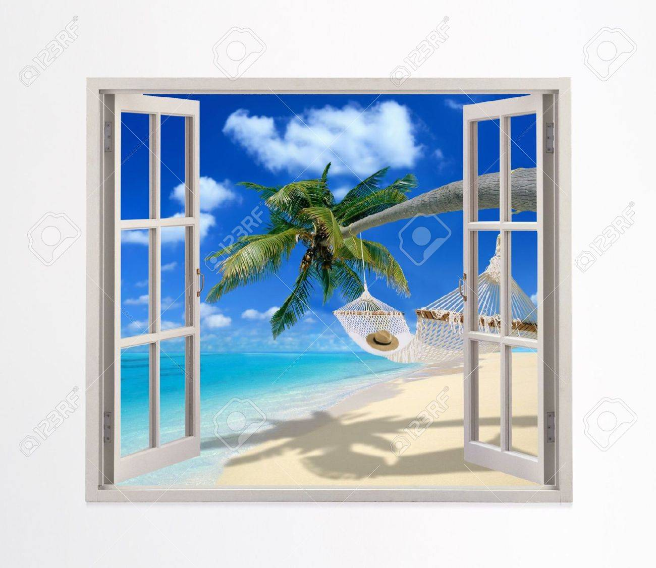 Open window beach - Open Window On A Beach Stock Photo 5511599