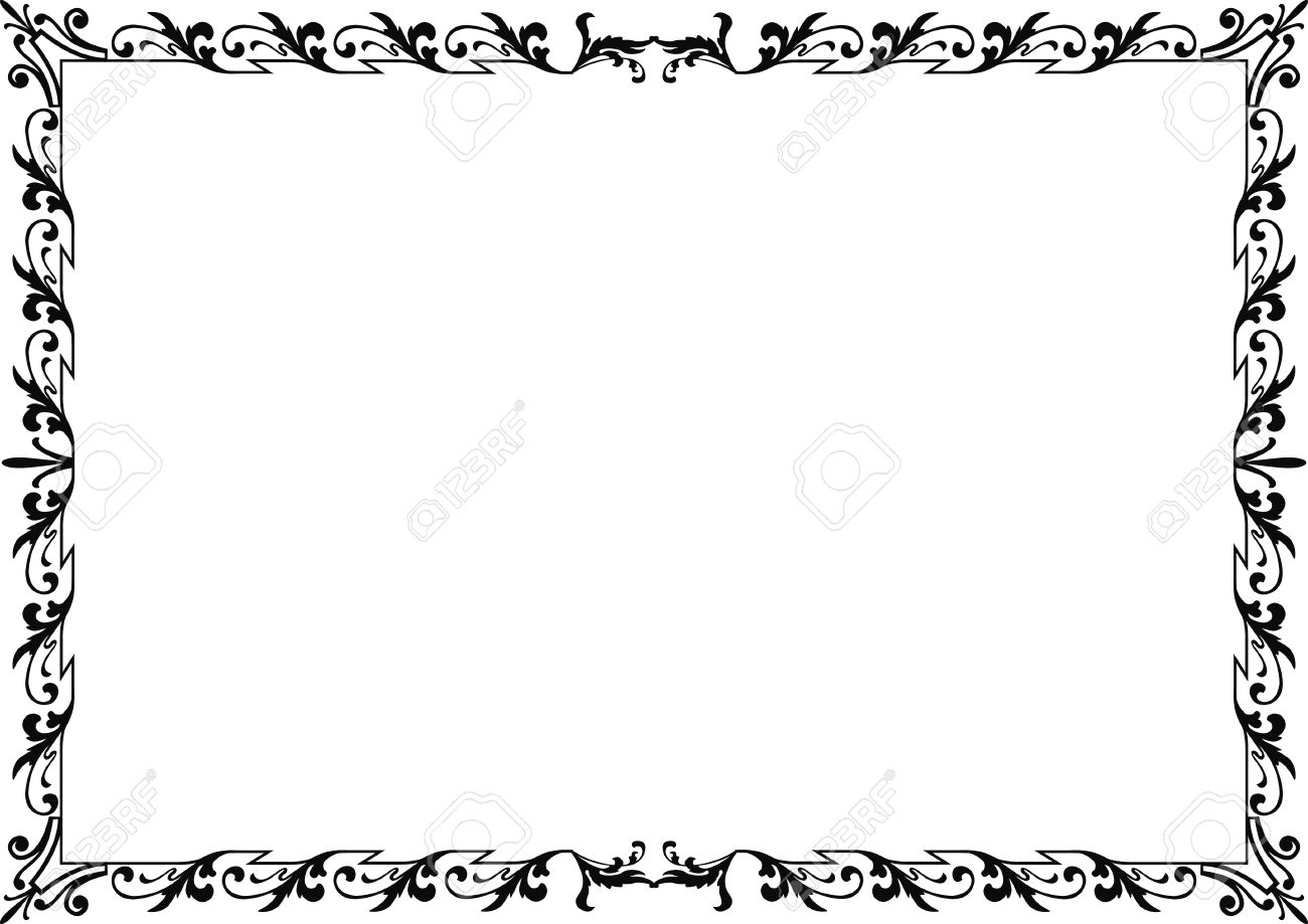 Historical Frame In Black With Ornaments In DIN Format, Free ...