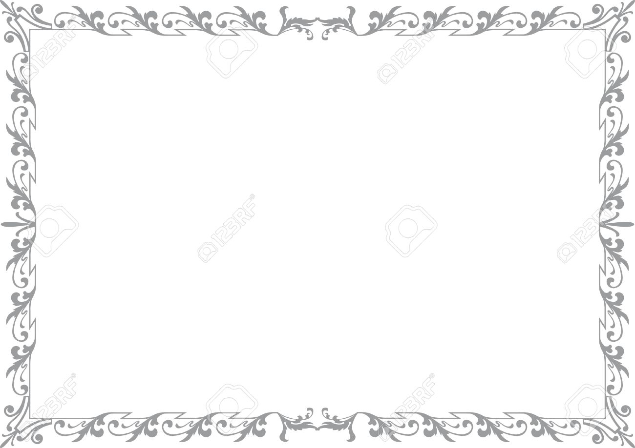 historical frame in gray with ornaments in din format free