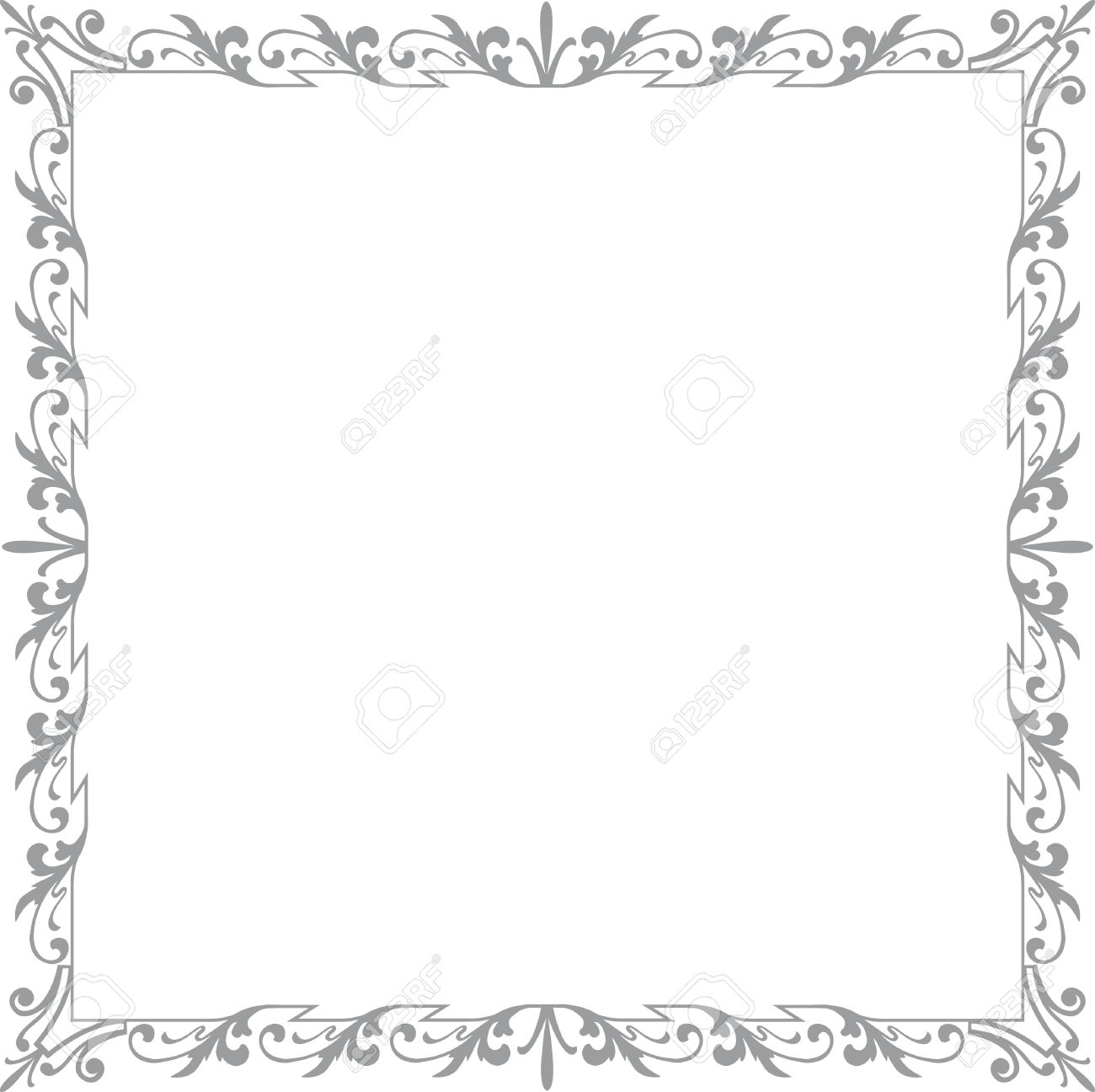 historical frame in gray with floral ornaments in square format