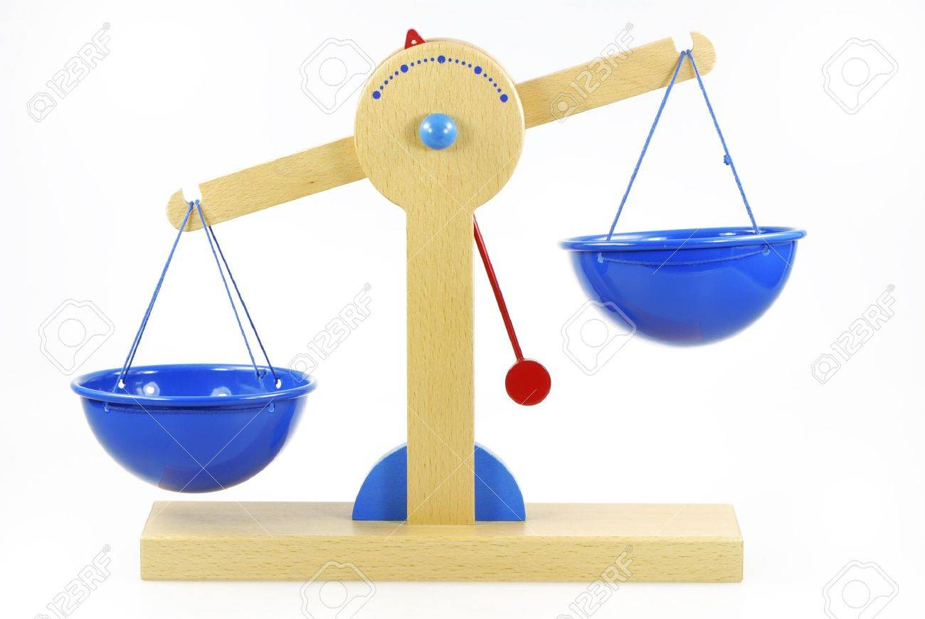Wooden Toy Scales Out Of Balance Stock Photo, Picture And Royalty ...