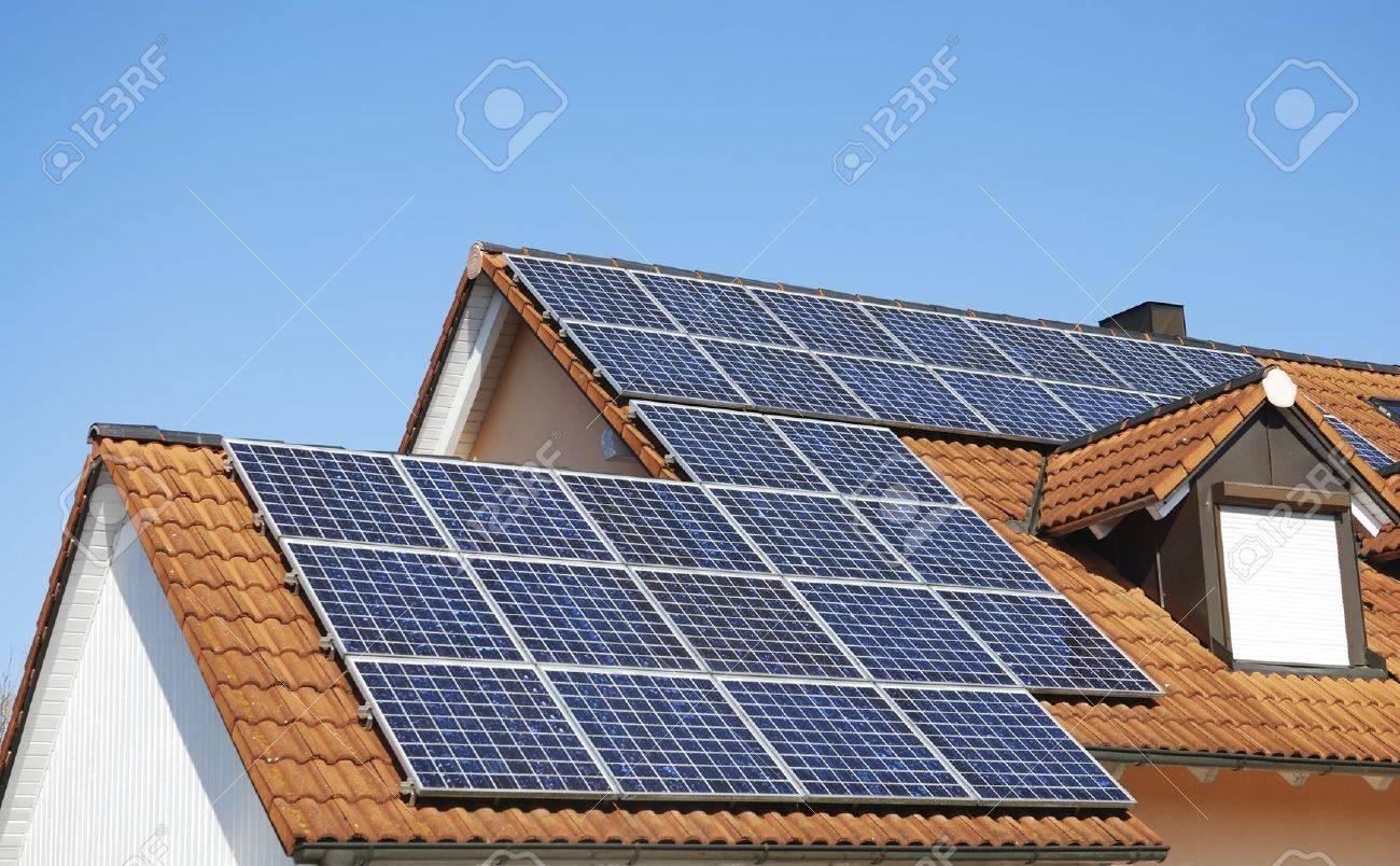 Solar panels on the hosue roof Stock Photo - 13141709